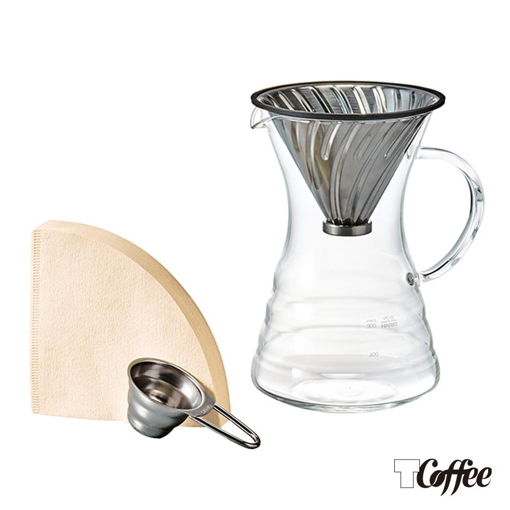 TCoffee HARIO-V60白金金屬濾杯咖啡壺組700ml