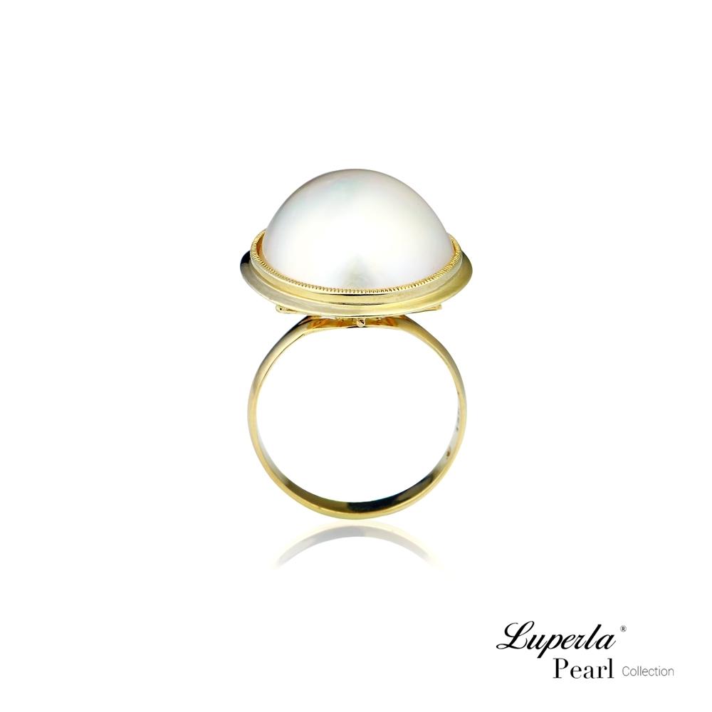 大東山珠寶 海水馬貝珍珠14K金戒指 夢幻之珠 鑽石之星