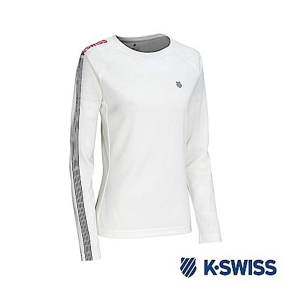 K-Swiss Long Sleeve T-Shirts 印花長袖T恤-女-白