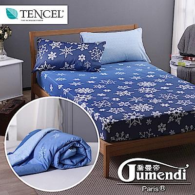 喬曼帝Jumendi 法式時尚加大天絲萊賽爾纖維涼被床包組-冰雪物語