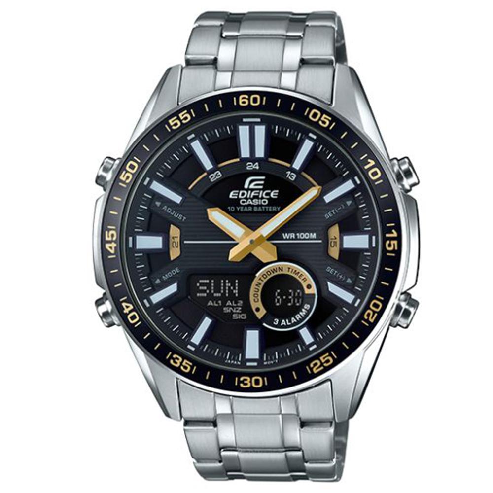 EDIFICE多層次空間感賽車概念數位雙顯計時腕(EFV-C100D-1B)黃時針46mm @ Y!購物