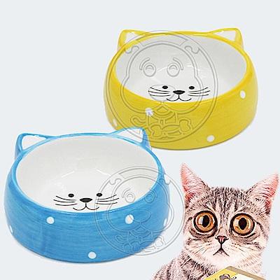 ELITE》犬貓用可愛貓耳造型陶瓷貓碗食碗12.5x10x4.5cm