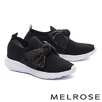 休閒鞋 MELROSE 時尚晶鑽蝴蝶結造型飛織厚底休閒鞋-黑