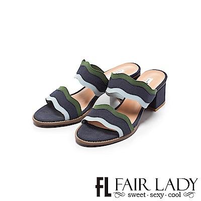 Fair Lady 撞色波紋拼接粗跟涼鞋 藍