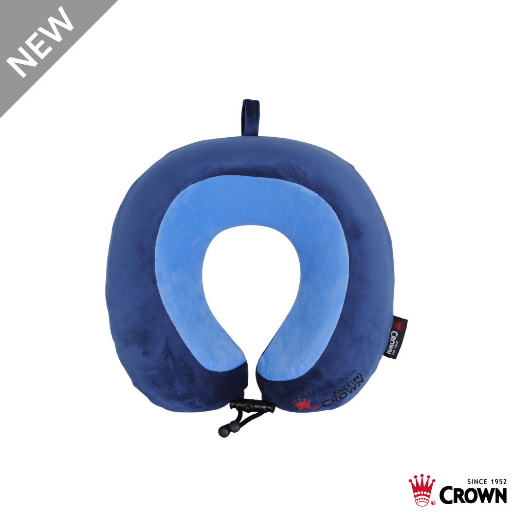 CROWN 皇冠 雙色記憶棉頸枕 飛機枕 旅行枕 藍