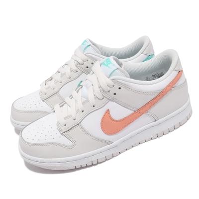 Nike 休閒鞋 Dunk Low GS 運動 女鞋 基本款 簡約 皮革 鴛鴦 球鞋 穿搭 白 橘 CW1590101