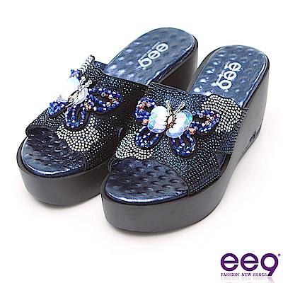 ee9 璀璨奢華鐳射鏤空露趾楔形跟拖鞋 藍色