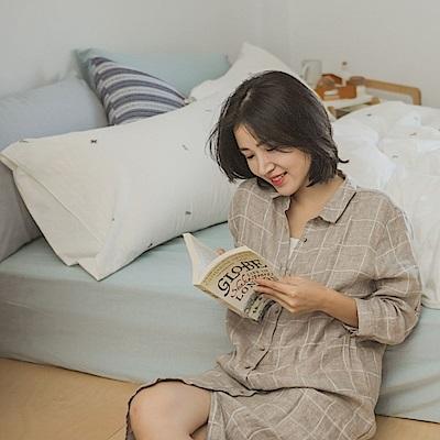翔仔居家 新疆棉系列 單人素色床包枕套組 - 淺青藍