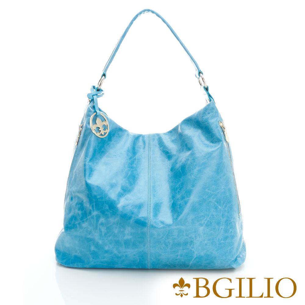 義大利BGilio - 義大利牛皮時尚造型肩背包-藍色- 1944.005A-09