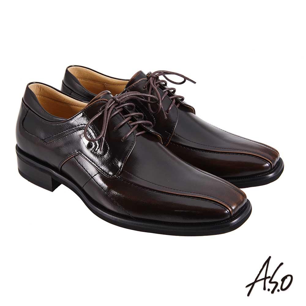 A.S.O職場通勤 勁步雙核心綁帶德比紳士鞋-茶