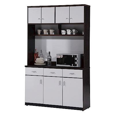 文創集 蘿倫環保4.1尺塑鋼七門三抽餐櫃組合(二色)-122x42x200cm-免組