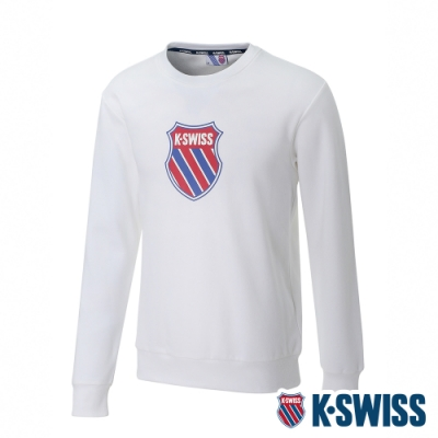 K-SWISS Shield Logo Sweatshirt刷毛圓領上衣-女-白