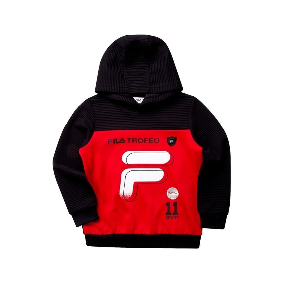FILA KIDS 童針織連帽長袖T恤-紅 1TET-8401-RD
