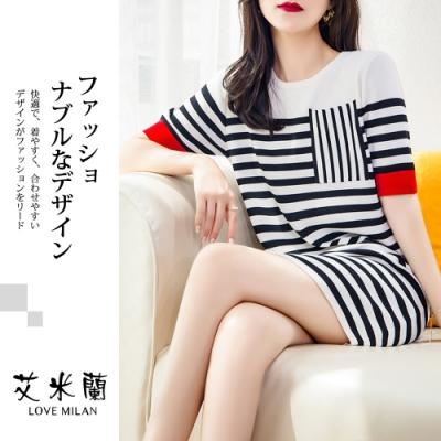 艾米蘭-韓系圓領條紋配色洋裝-黑白條(M-XL)