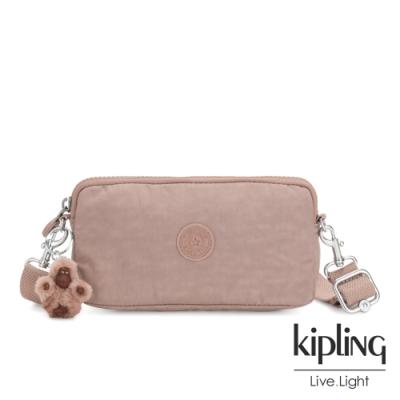 Kipling 復古蜜桃粉色側背多功能配件包-EMILIA