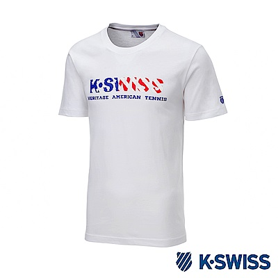 K-SWISS Falg Graphic Tee印花短袖T恤-男-白