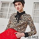 SO NICE時尚豹紋印花綁結雪紡上衣