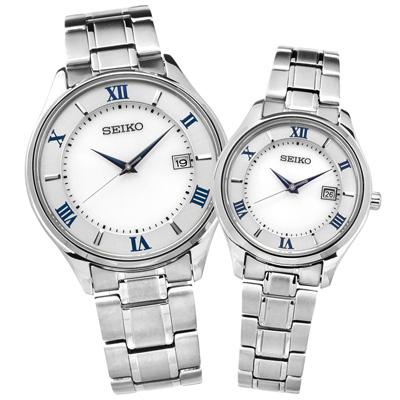 SEIKO 太陽能藍寶石水晶日期鈦金屬手錶-銀色/39mm+29mm