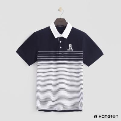 Hang Ten - 男裝 - 條紋漸層設計POLO衫 - 深藍