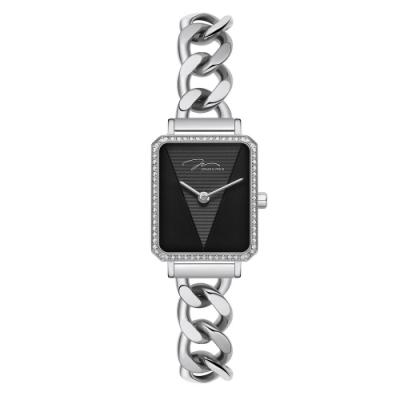 J&V -執我系列 方形不鏽鋼鍊條式女錶 J33.12.WBSWD
