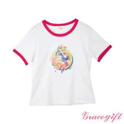 Grace gift-美少女戰士聯名滾邊T恤 桃紅