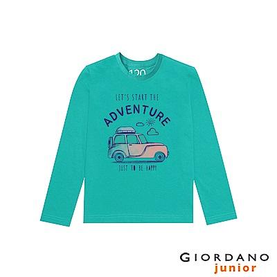 GIORDANO 童裝冒險旅程印花長袖T恤-01 光譜綠