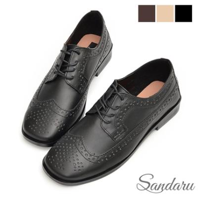 山打努SANDARU-牛津鞋 洞洞雕花綁帶低跟鞋-黑