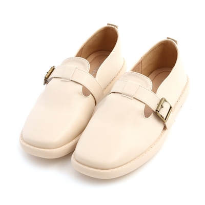 D+AF 鄰家女孩.T字釦環素面平底鞋*米白