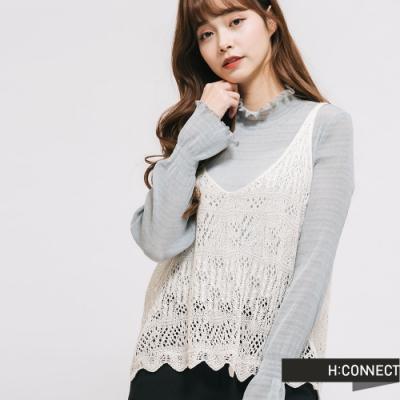 H:CONNECT 韓國品牌 女裝 - 微甜立領兩件式上衣-綠