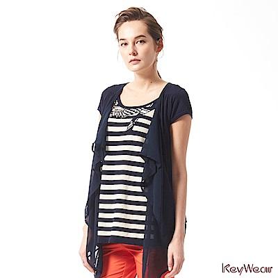 KeyWear奇威名品    100%純棉假兩件修飾短袖上衣-深藍色