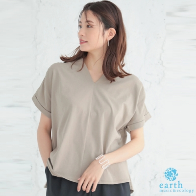 earth music 袖反摺V領剪裁上衣