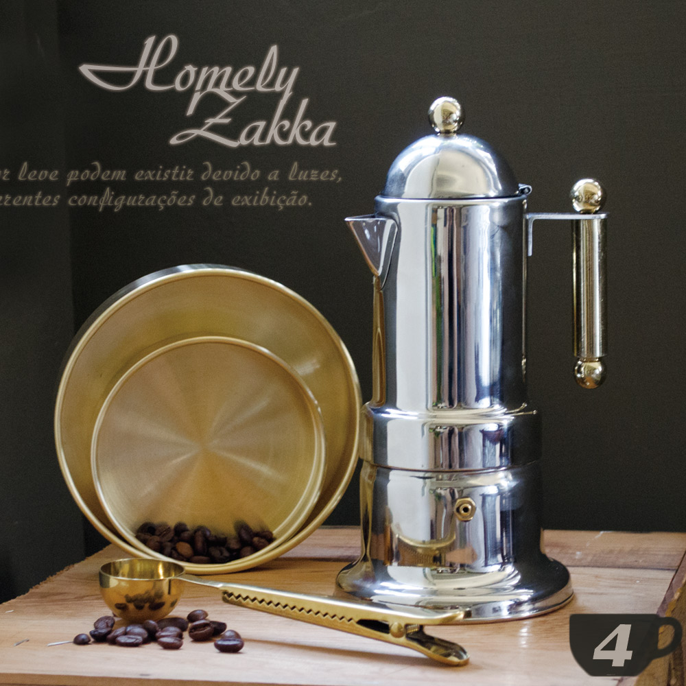 Homely Zakka 新古典裝飾鍍金304不鏽鋼咖啡壼/摩卡壼 (4杯)