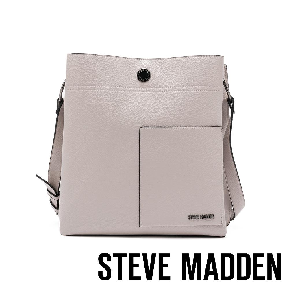STEVE MADDEN-BLOUISA 質感大容量多夾層側背斜背大方包-灰色