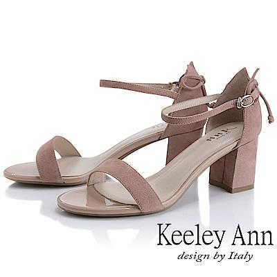 Keeley Ann簡約一字帶 素面麂皮環扣高跟涼鞋(粉紅色-Ann系列)