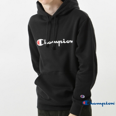 Champion Basic 草寫Logo內刷毛大口袋連帽Tee 黑色