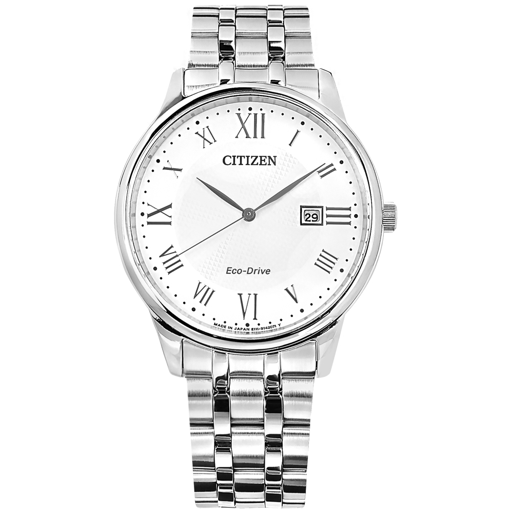 CITIZEN 光動能 羅馬刻度 日本製造 日期 不鏽鋼手錶-白色/40mm