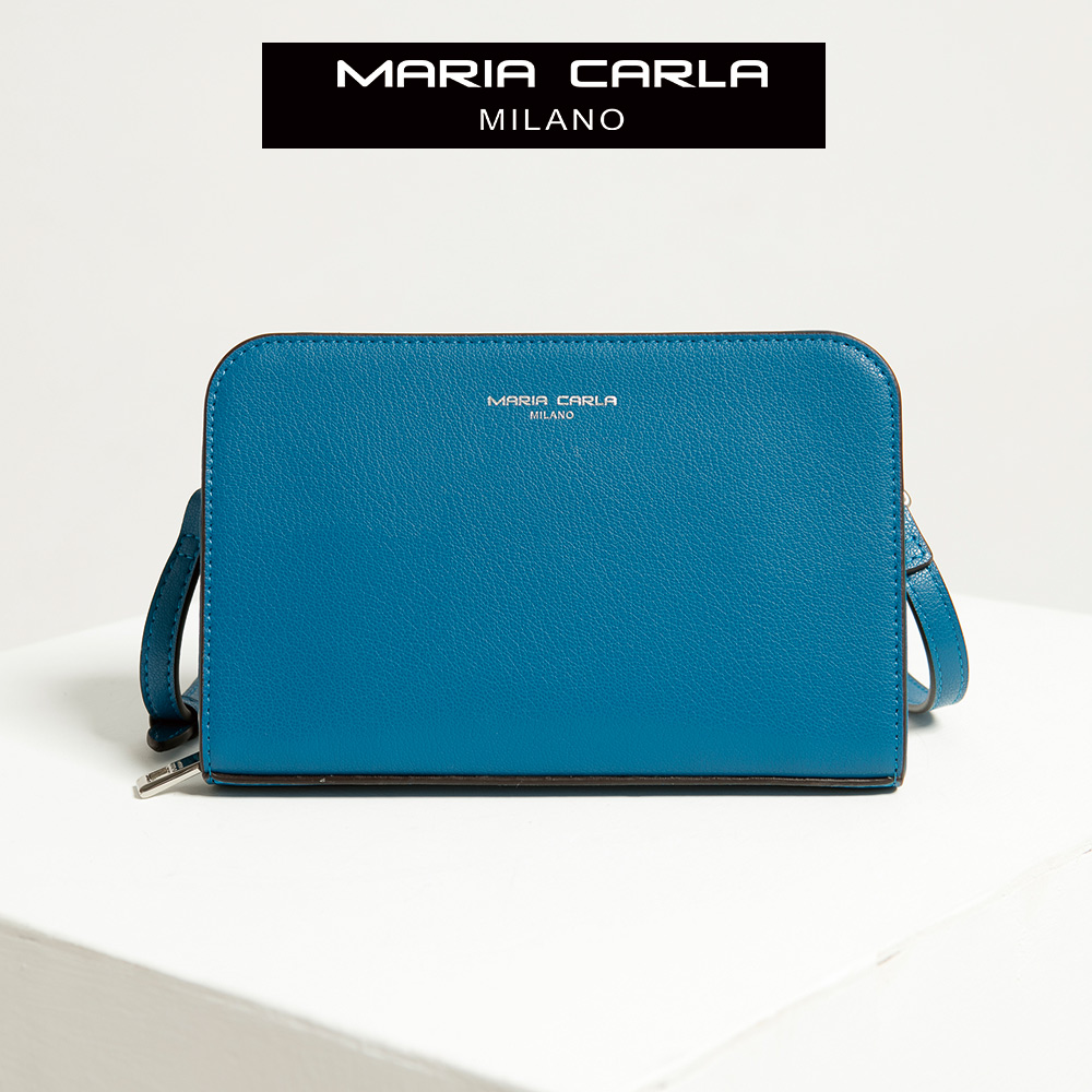 【Maria Carla】縹色_拉鏈式手機皮夾側背包_日光休閒_二層牛皮_SERIES C