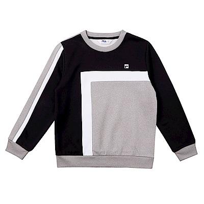 FILA KIDS 童吸濕排汗針織刷毛上衣-黑 1TES-8407-BK