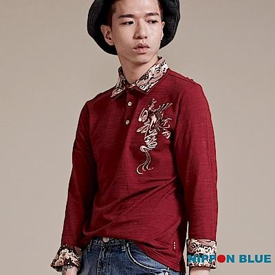 日本藍 BLUE WAY金標鳳凰精繡POLO衫(紅)