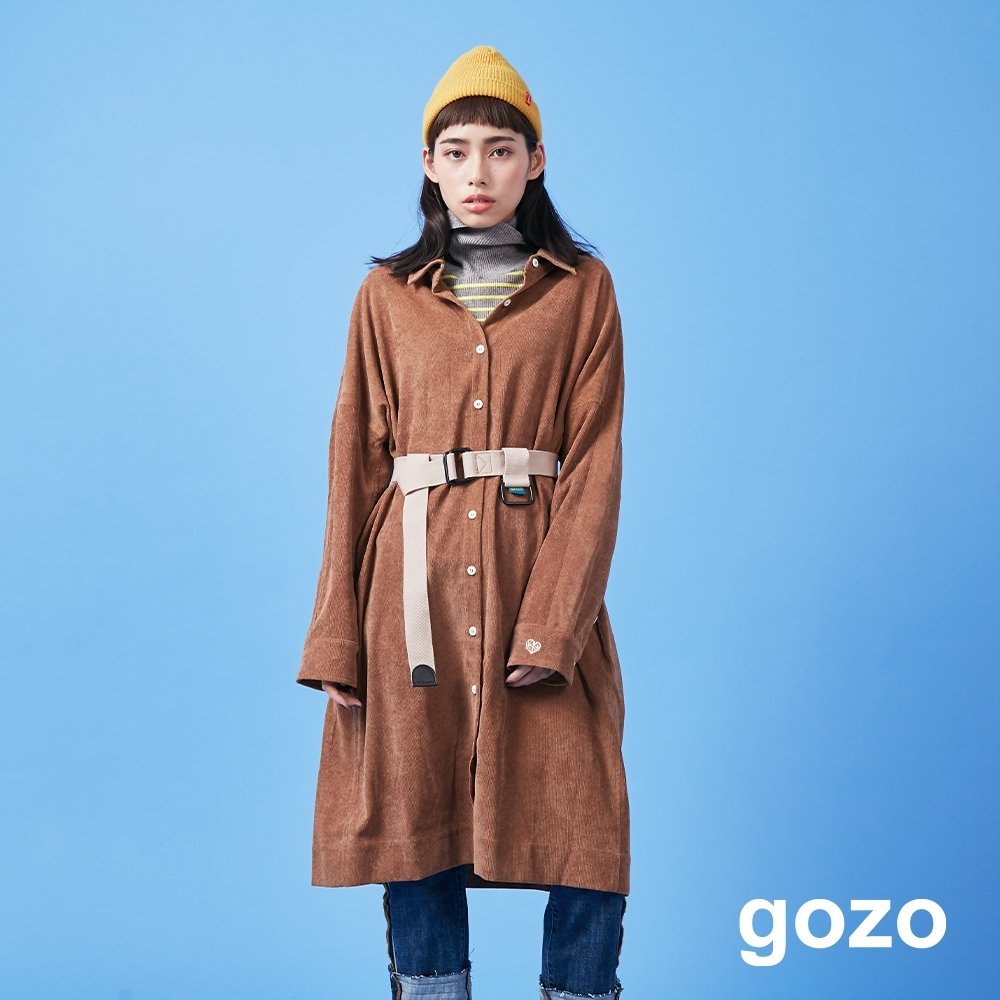 gozo 燈心絨小愛心襯衫洋裝(二色)