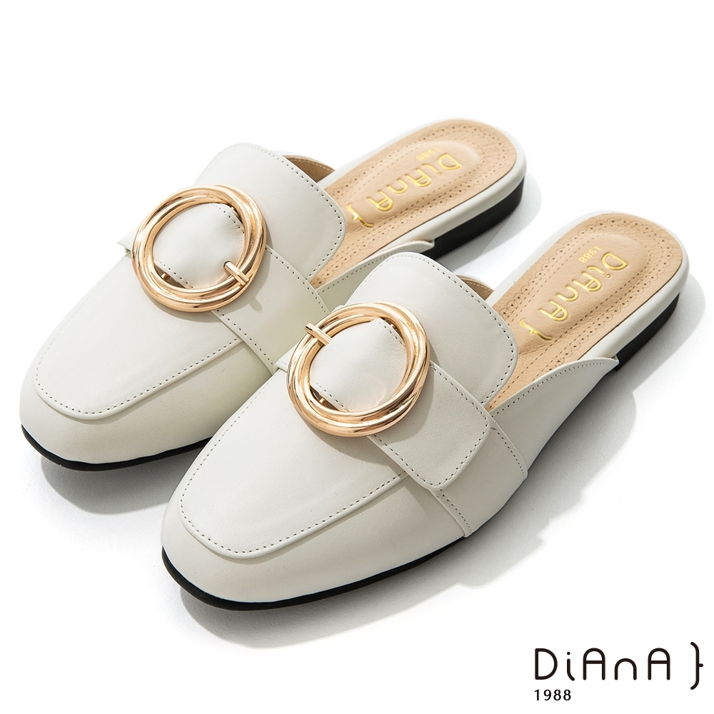 DIANA 2.5 cm俏麗牛皮金屬圓環樂福穆勒鞋–漫步雲端焦糖美人-米
