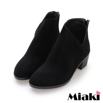 Miaki-踝靴小香風拉鍊中跟短靴-黑絨
