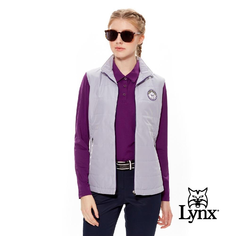 【Lynx Golf】女款拉鍊配色立領鋪棉貓咪繡標無袖背心-銀灰色