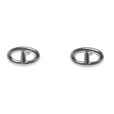HERMES 經典Chaine d Ancre系列純銀LOGO耳環(銀)