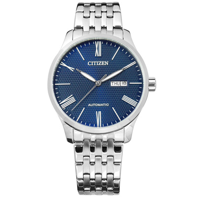 CITIZEN 限量機械錶自動上鍊日期星期不鏽鋼手錶-藍色/40mm @ Y!購物