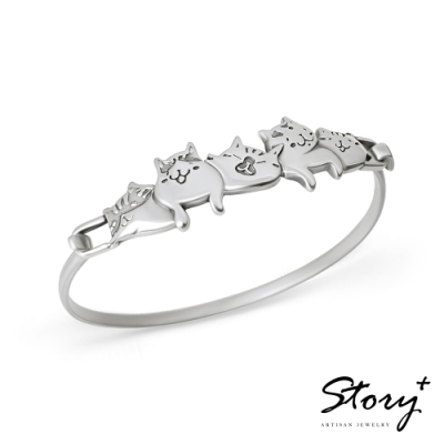 STORY故事銀飾-貓小姐系列-喜歡在一起純銀貓手環