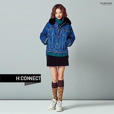 H:CONNECT 韓國品牌 女裝-滾邊刷毛牛仔外套-藍