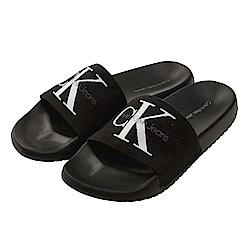 Calvin Klein Jeans LOGO 帆布休閒拖鞋*黑色