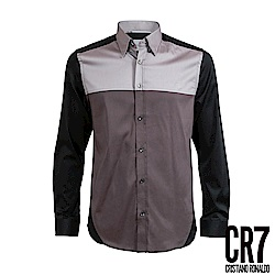 CR7-Slim Fit 咖啡三色拼接襯衫(8702-74400-5)