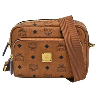 MCM 經典Klassik系列Visetos皮革品牌LOGO印花拉鍊斜背包(棕色)
